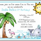 Ocean Beach Sun Surf Custom Birthday Party Invitations