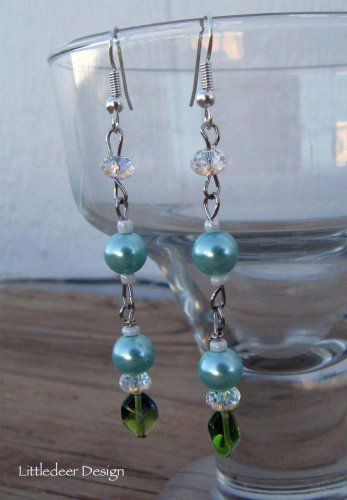Handmade ice blue glass pearl and Swarovski crystal earrings