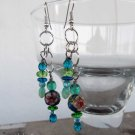 Handmade cloissone and Czech glass bead earrings