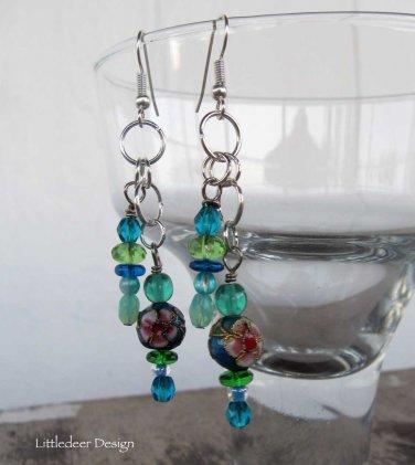 Handmade cloissone and Czech glass bead earrings