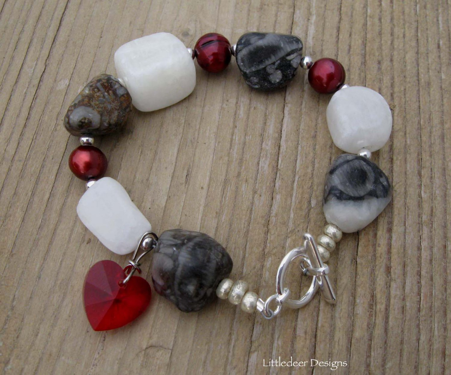 Handmade fossil agate and calcite nuggets with freshwater pearls and heart crystal bracelet