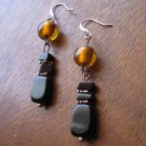 Handmade black obsidian with copper and honey lampworked glass earrings