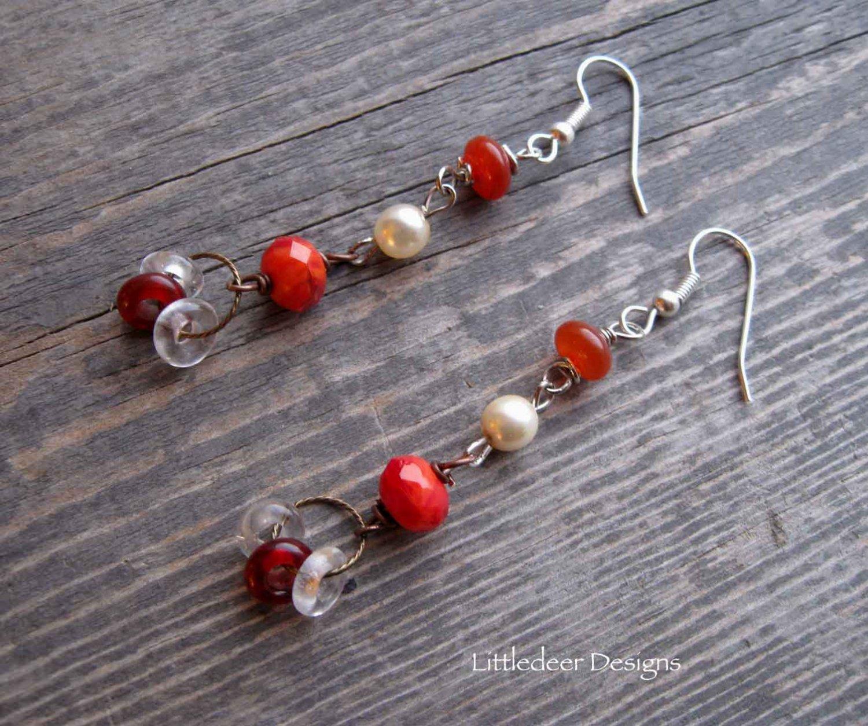 Handmade red agate, Czech glass and cream pearl earrings