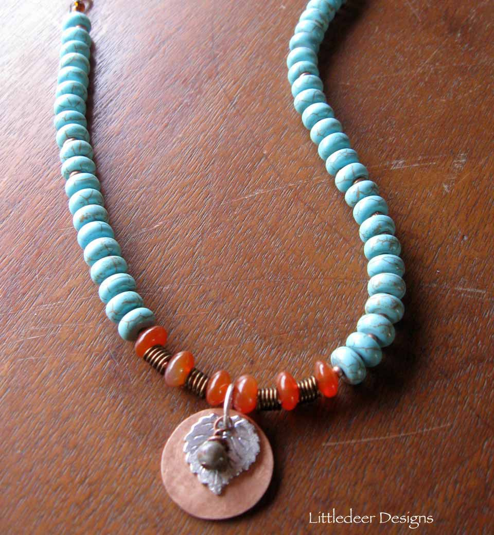 Handmade copper coin with silver leaf, turquoise magnesite heishi necklace