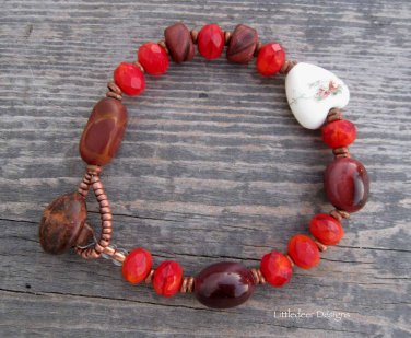 Handmade brown moukaite and red Czech fireglazed bead bracelet