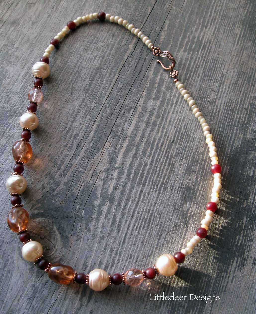 Handmade pale peach glass pearl, apricot glass and cranberry agate necklace
