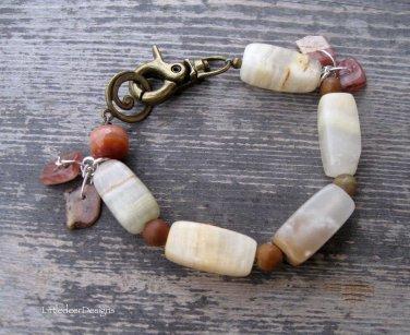 Handmade Italian Onyx, Tigerskin Jasper, and Rhodochrosite bracelet