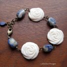 Handmade Lapis Lazuli with bone roses and brass bracelet