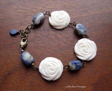 Handmade Lapis Lazuli with bone roses and brass bracelet