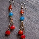 Handmade Carnelian, red Czech fireglazed rondelles with Carribean Blue Swarovski crystals earrings