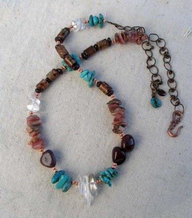 Handmade Quartz Crystal, Moukaite, Rhodochrosite, Magnesite, and Garnet necklace
