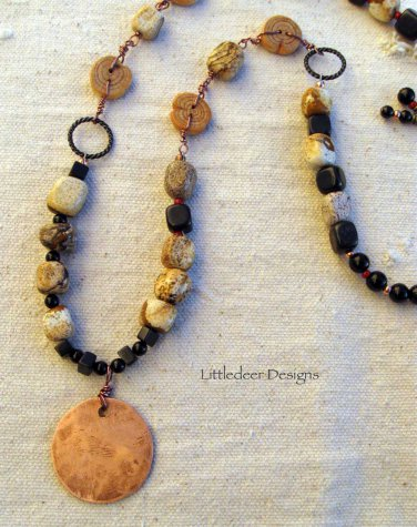 Handmade picture jasper and obsidian with vintage sage buttons necklace