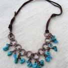 Handmade turquoise magnesite and aqua Czech glass beads necklace