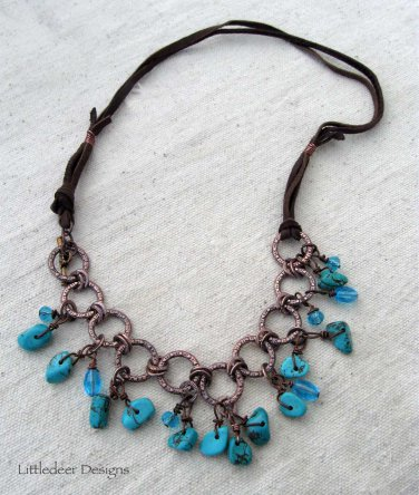 Handmade turquoise magnesite and aqua Czech glass beads necklace