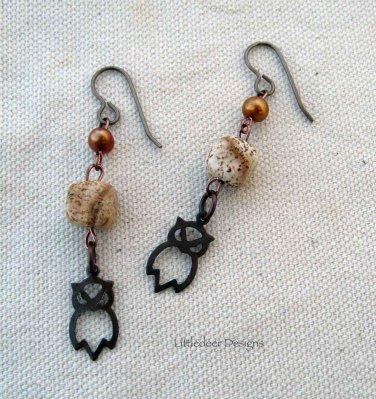 Handmade copper pearl, picture jasper, and brass owl earrings
