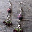 Handmade amethyst metallic luster, blackberry pearl, and peridot earrings