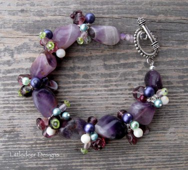 Handmade chevron amethyst with purple and green pearls bracelet