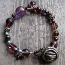 Handmade Amethyst bronze and silver bracelet