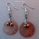 Handmade hammered copper round with copper freshwater pearls earrings