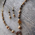 Handmade brass coin, gold pearl, tiger eye and Swarovski bicone on leather lace necklace/earring set