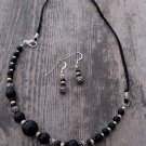 Handmade vintage glass with black obsidian and sterling on black nylon cord necklace/earring set