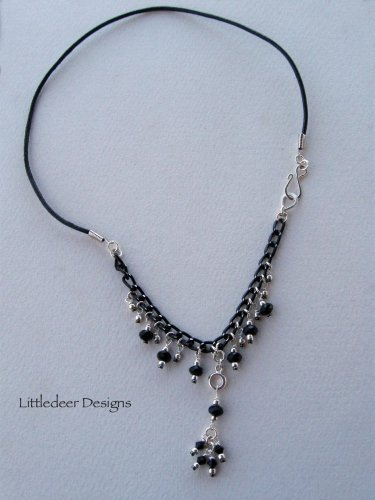 Handmade black Swarovski crystal and silver necklace