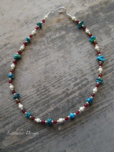 Handmade Garnet Turquoise and Bone choker necklace