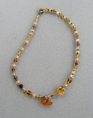 Handmade Citrine and Honey Glass choker necklace