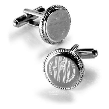 Silver Round Beaded Cufflinks GC202