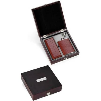 Leather Cigar Case and Flask Gift Box GC228