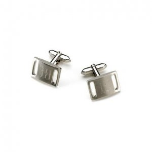 Brushed Silver Slotted Cufflinks GC261
