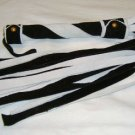20 Lash 1/2 Inch Wide Black  and White Suede Flogger