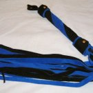 20 Lash 1/2 Inch Wide Black and Blue Suede Flogger