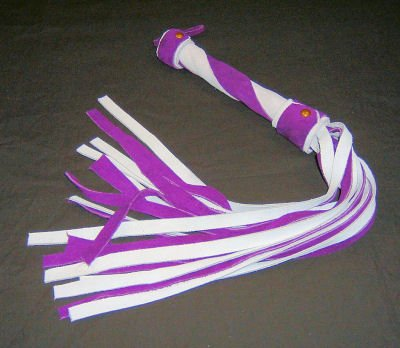 20 Lash 1/2 Inch Wide Purple  and White Suede Flogger