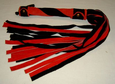 20 Lash 1/2 Inch Wide Black  and Red Suede Flogger