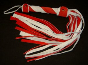 20 Lash 1/2 Inch Wide White  and Red Suede Flogger