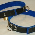 Thigh cuff Black Leather On Blue Suede Locking (set of 2 Locks Included)
