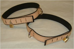 Thigh cuff Tan Leather On Black Suede Locking (set of 2 Locks Included)