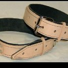 Thighs Cuffs Tan Leather On Black Leather Roller Buckle (set of 2)
