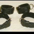 Wrist and Ankle Cuffs Black Leather On Black Leather Roller Buckle (set of 4)