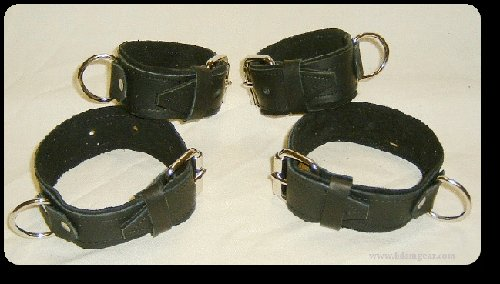 Wrist and Ankle Cuffs Black Leather On Black Suede Roller Buckle  (set of 4)