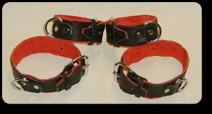Wrist and Ankle Cuffs Black Leather On Red Suede Roller Buckle (set of 4)
