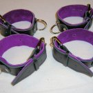 Wrist and Ankle Cuffs  Black Leather and Purple Suede Lining Roller Buckle (set of 4)