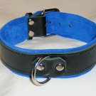 1 Ring Blue Suede Lined Leather Collar - Roller Buckle
