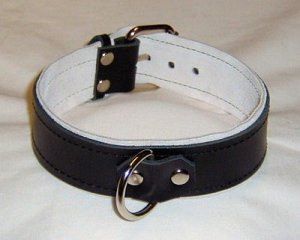 1 Ring White Suede Lined Leather Collar - Roller Buckle