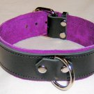 1 Ring Purple Suede Lined Leather Collar - Roller Buckle
