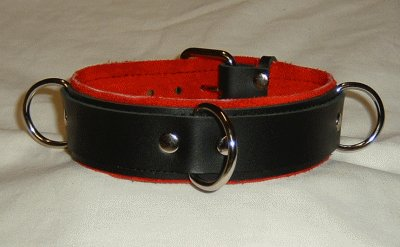 3 Ring Red Suede Lined Leather Collar - Roller Buckle