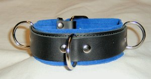 3 Ring Blue Suede Lined Leather Collar - Roller Buckle