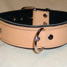 3 Ring Black Leather and Tan  Leather Collar - Roller Buckle