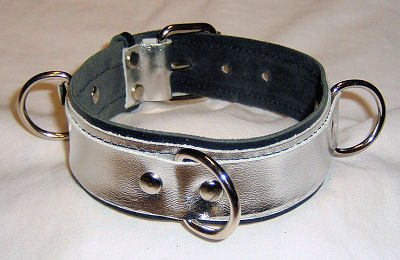 Three Ring Silver Metallic Leather Collar Roller Buckle